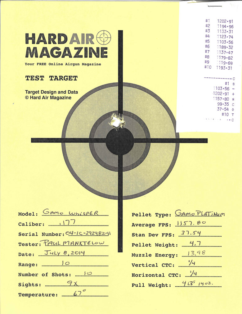 Gamo Whisper air rifle test target Gamo Platinum PBA pellets
