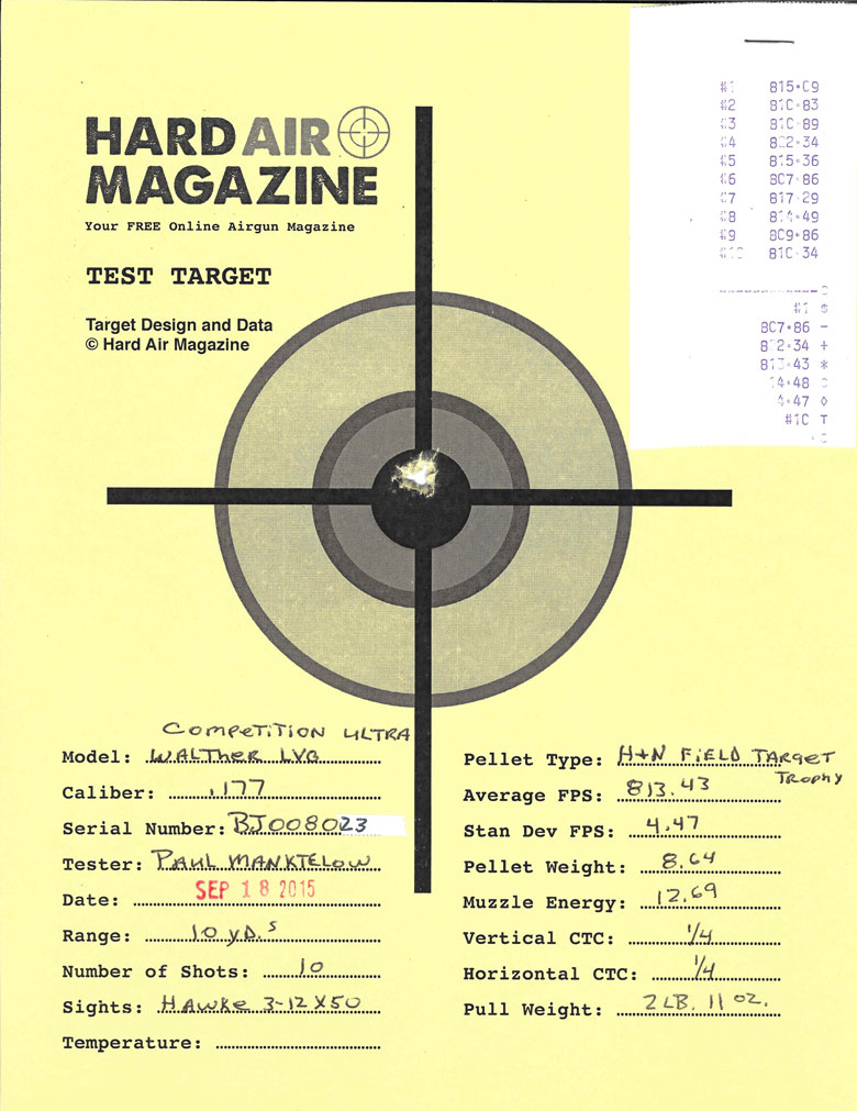 Walther LGV Competition Ultra Air Rifle Test Review H&N Field Target Trophy pellets