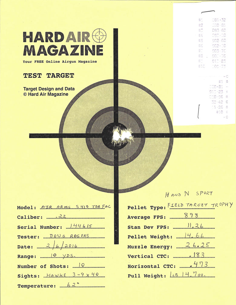 Air Arms S410 TDR Air Rifle Test Review H&N Field Target Trophy Pellets