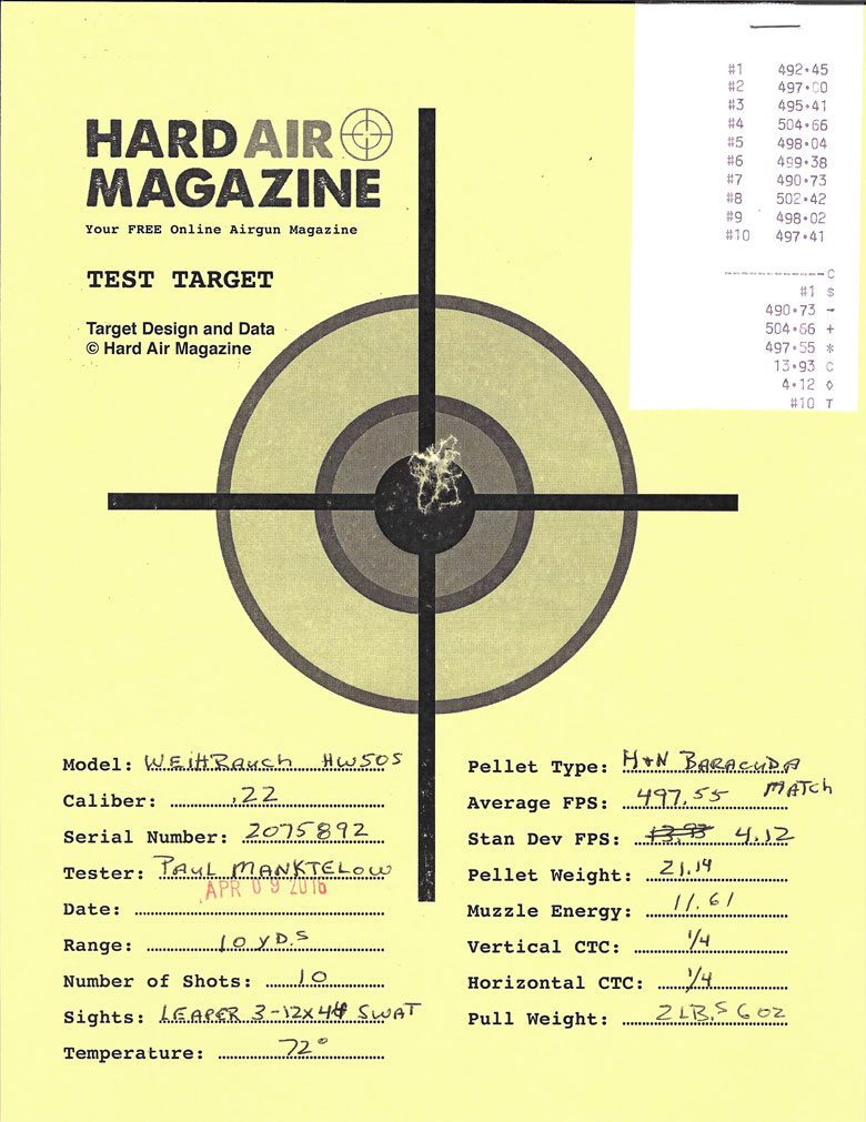 Weihrauch HW50S Air Rifle Test Review .22 Caliber H&N Baracuda Match pellets