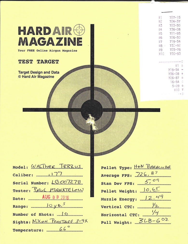 Walther Terrus Air Rifle Test Review H&N Baracuda pellets