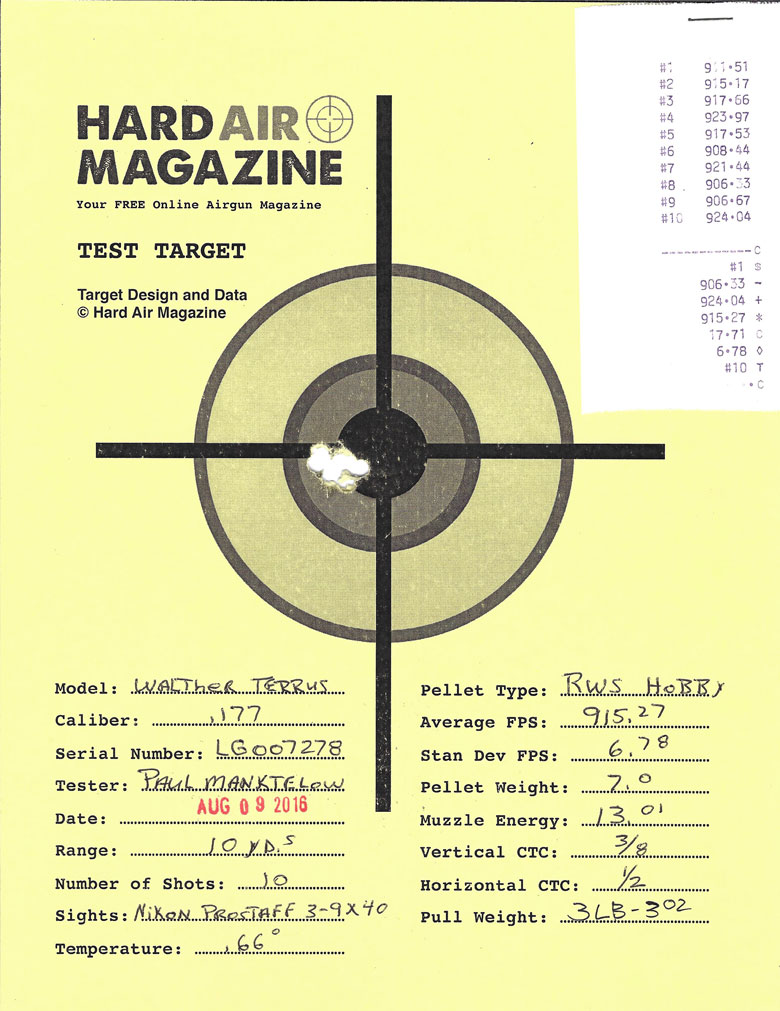 Walther Terrus Air Rifle Test Review RWS Hobby pellets