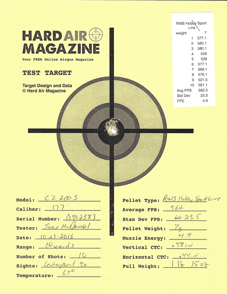 Air Arms T200 Sporter Air Rifle Test Review RWS Hobby pellets