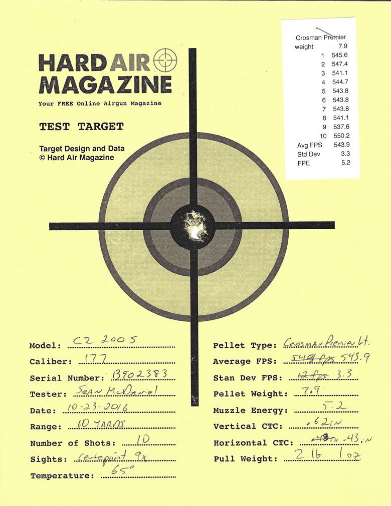Air Arms T200 Sporter Air Rifle Test Review Crosman Premier pellets