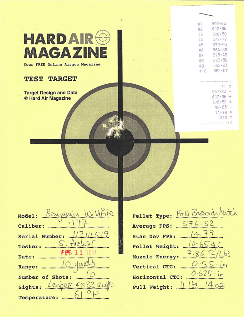 Benjamin Wildfire Air Rifle Test Review H&N Baracuda match pellets