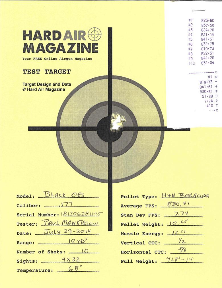 Test Target Black Ops Sniper Rifle H&N Baracuda pellets HAM