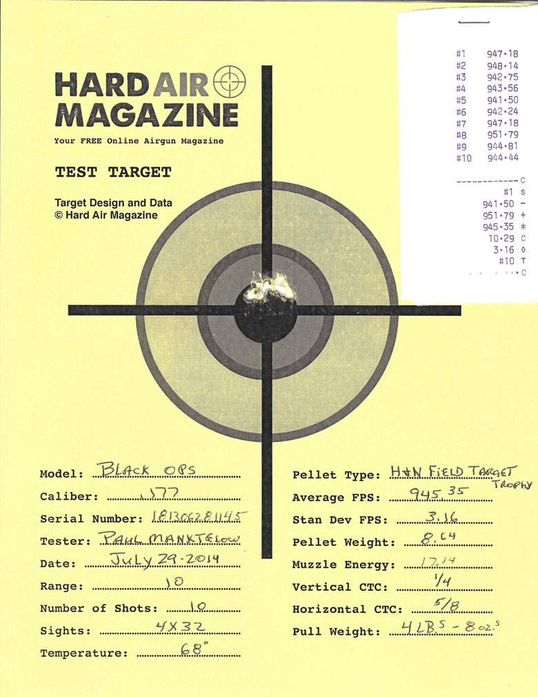 Test Target Black Ops Sniper Rifle H&N Field Target Trophy pellets HAM