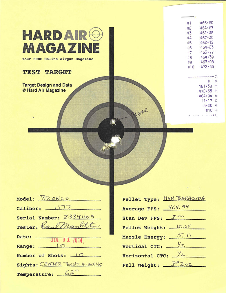 Air Venturi Bronco air rifle test target H&N Baracuda pellets