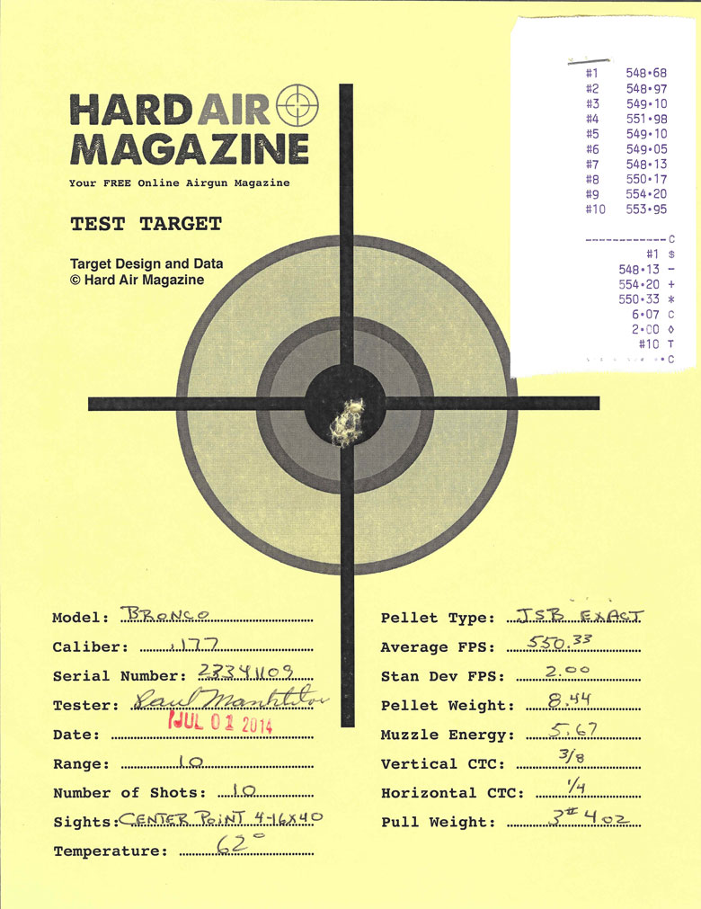 Air Venturi Bronco air rifle test target JSB Exact pellets