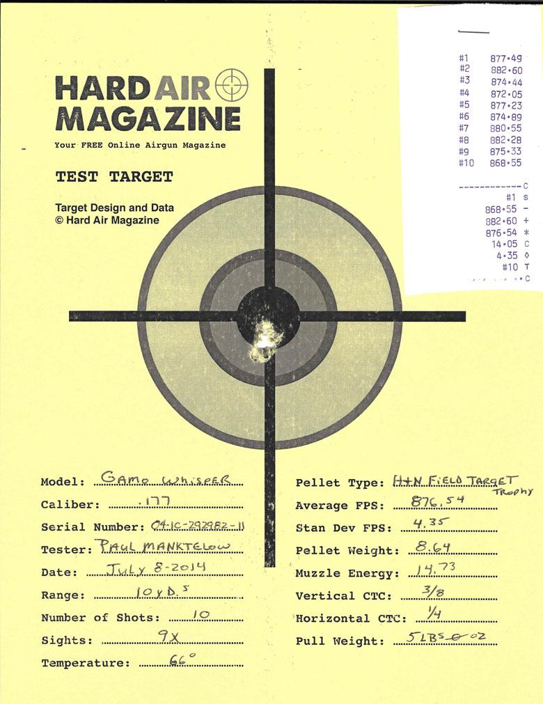 Gamo Whisper air rifle test target H&N Field Target Trophy pellets