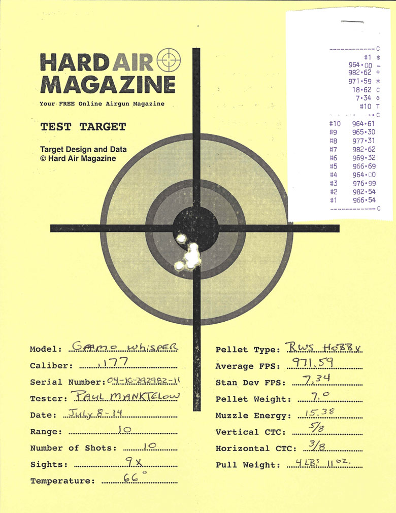 Gamo Whisper air rifle test target RWS Hobby pellets