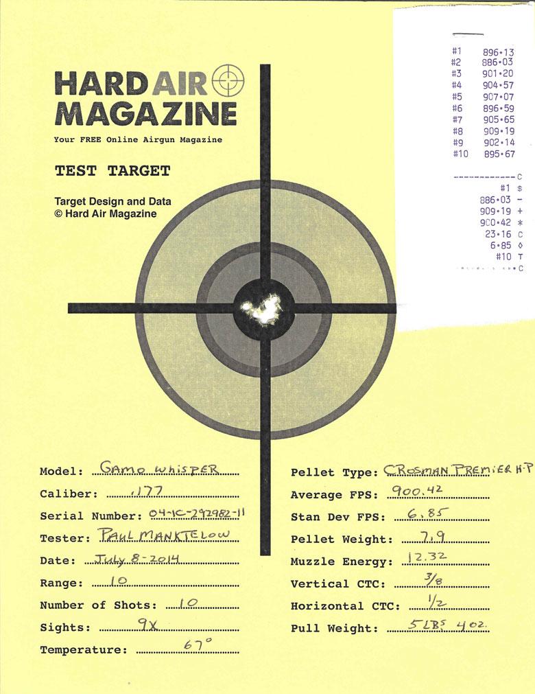 Gamo Whisper air rifle test target Crosman Premier Hollow Point pellets