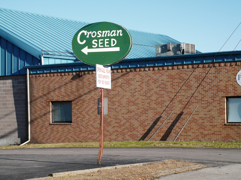 Crosman history. Crosman Seed Corporation Sign