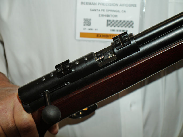 new airguns at SHOT Show close up of the breech of the prototype Shanghai Airguns big bore air rifle