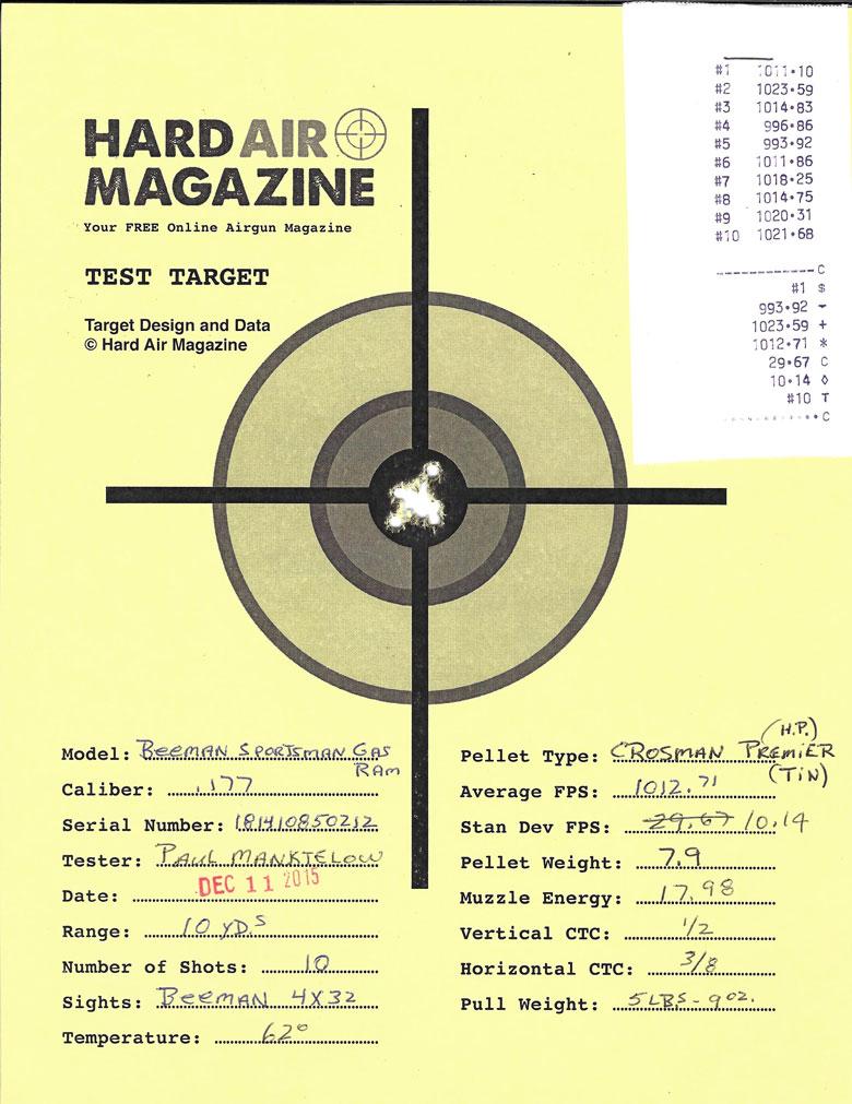 Beeman Gas Ram Air Rifle, Model 1051 GP .177 Caliber Crosman Premier HP pellets
