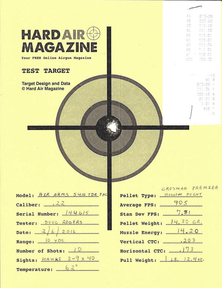 Air Arms S410 TDR Air Rifle Test Review Crosman Premier HP Pellets