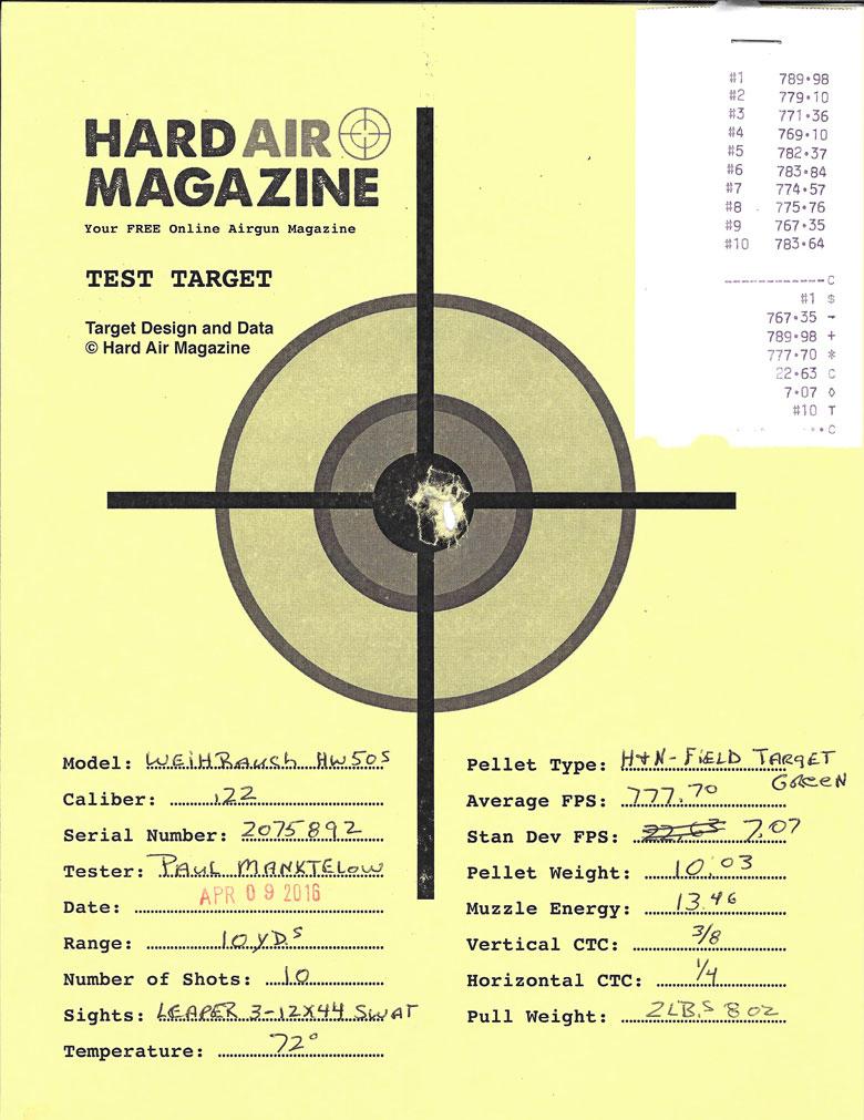 Weihrauch HW50S Air Rifle Test Review .22 Caliber H&N FTT Green pellets