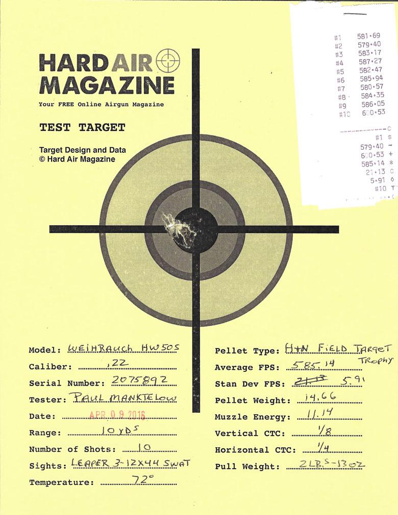 Weihrauch HW50S Air Rifle Test Review .22 Caliber H&N Field Target Trophy pellets