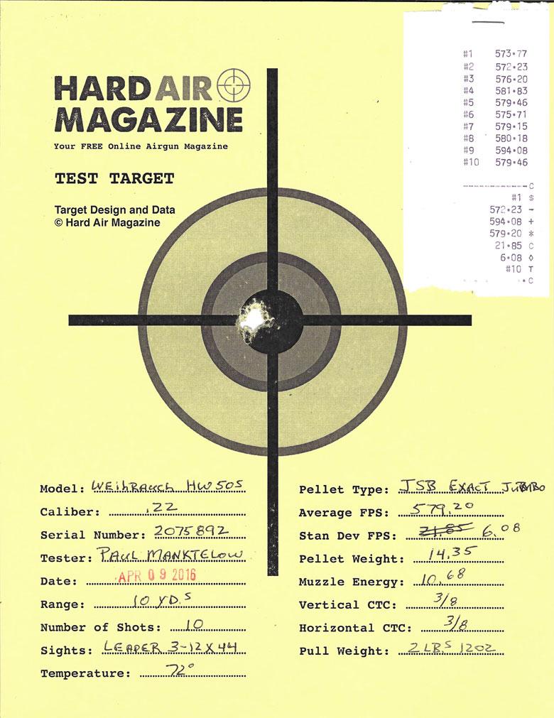 Weihrauch HW50S Air Rifle Test Review .22 Caliber JSB Exact pellets