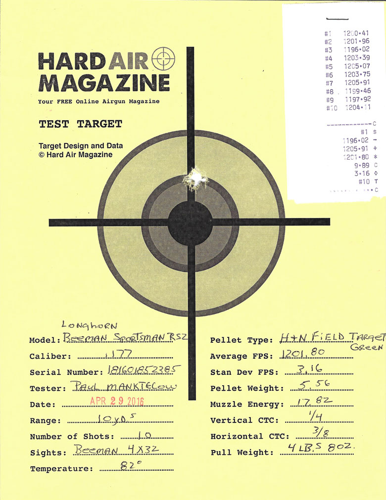 Beeman Longhorn Air Rifle Test Review .177 H&N Field Target Trophy Green pellets