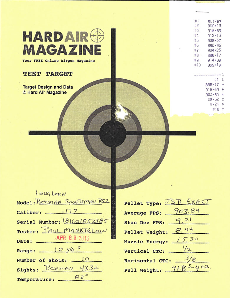 Beeman Longhorn Air Rifle Test Review .177 JSB Exact pellets
