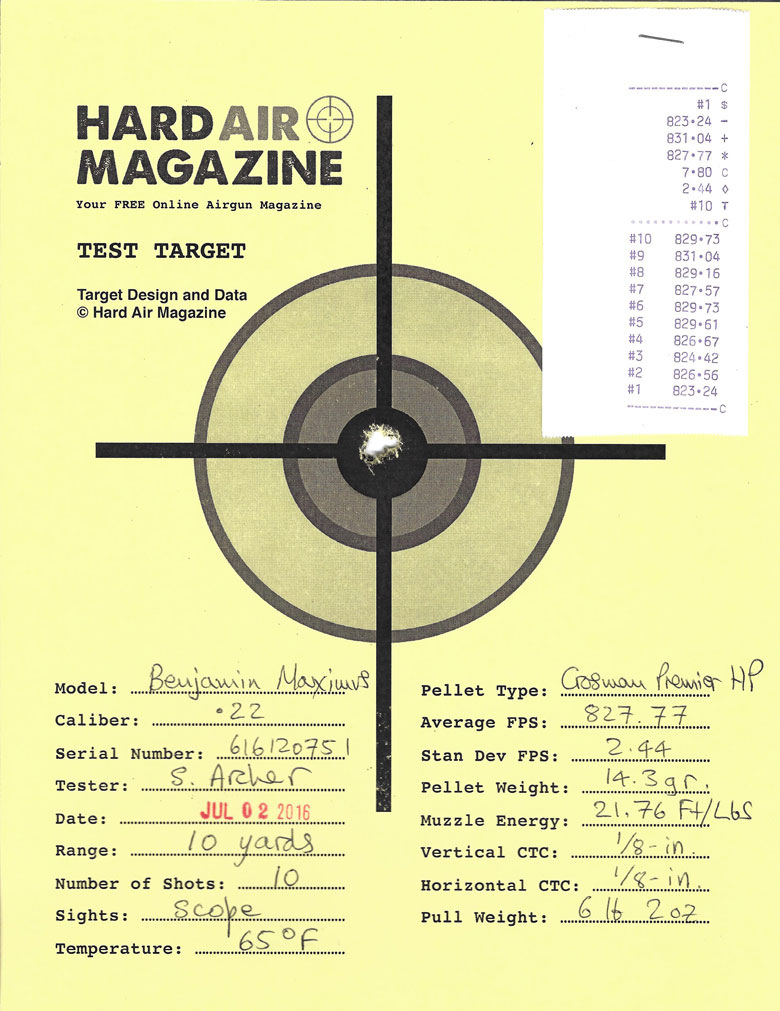 Benjamin Maximus Air Rifle Test Review Crosman Premier HP pellets