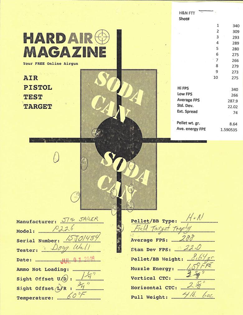 SIG SAUER P226 Pellet Pistol Review H&N Field Target Trophy Pellets