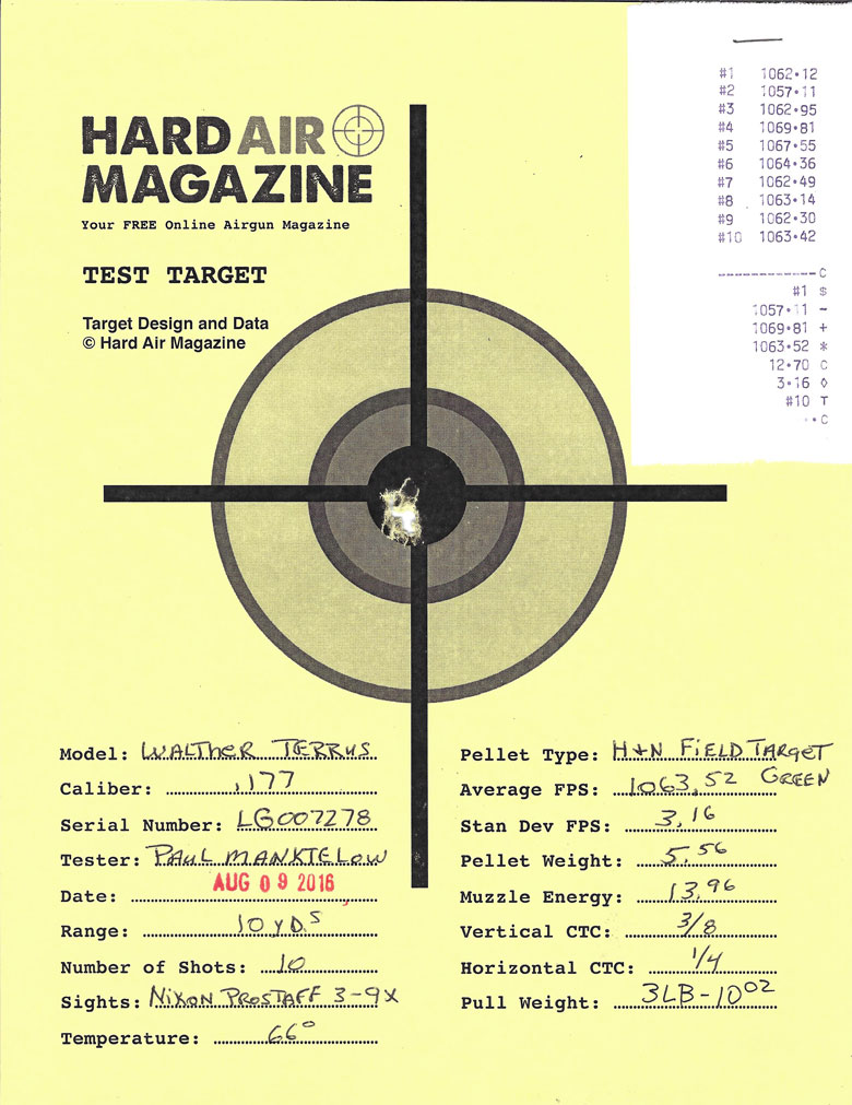 Walther Terrus Air Rifle Test Review H&N FTT Green pellets