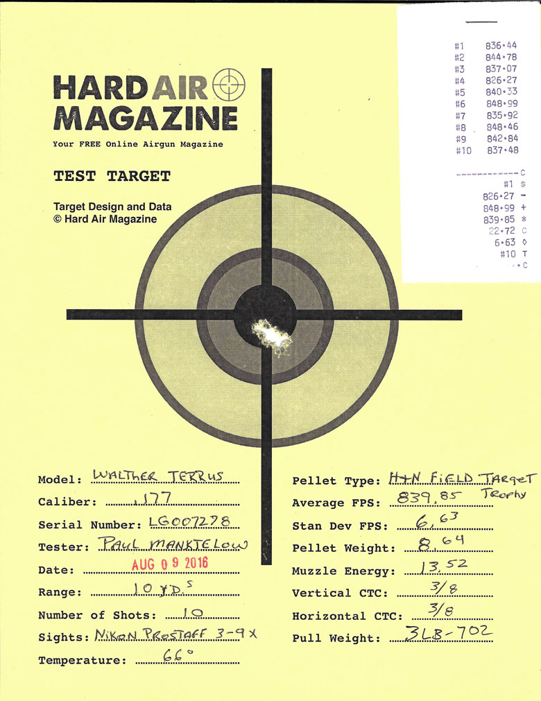 Walther Terrus Air Rifle Test Review H&N Field Target Trophy pellets
