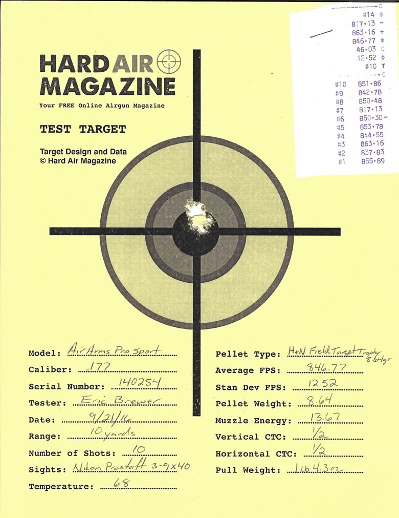 Air Arms Pro Sport Air Rifle Test Review .177 Caliber H&N Field Target Trophy pellets