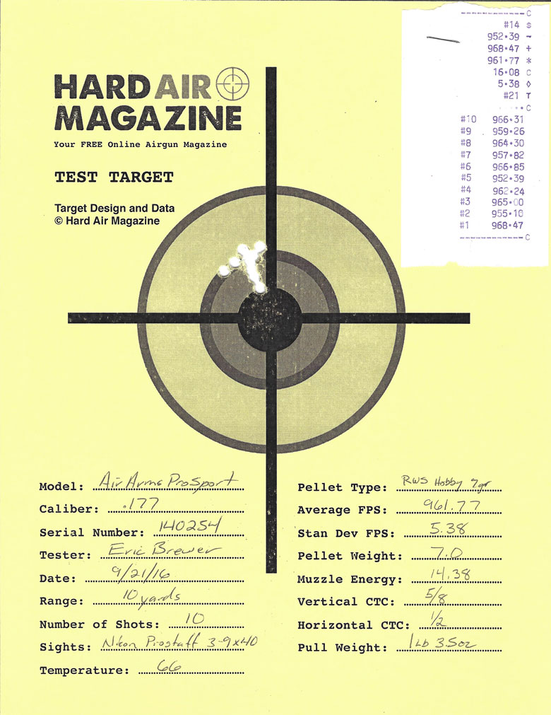 Air Arms Pro Sport Air Rifle Test Review .177 Caliber RWS Hobby pellets