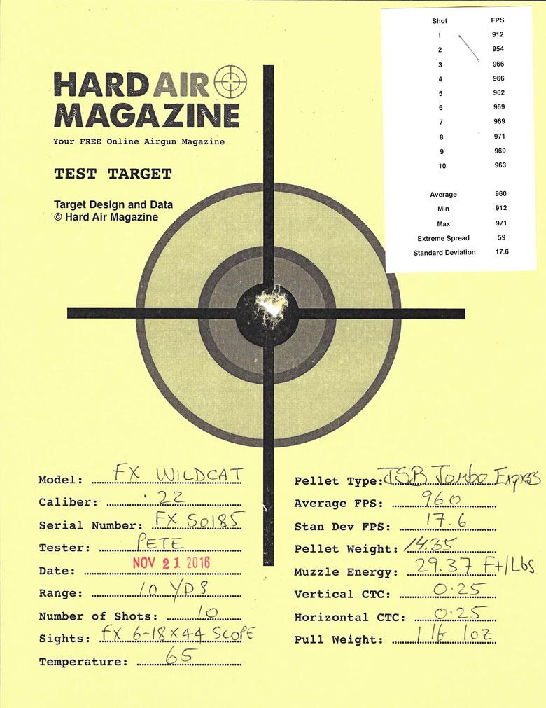 FX Wildcat Air Rifle Test Review .22 Caliber JSB Jumbo Express pellets