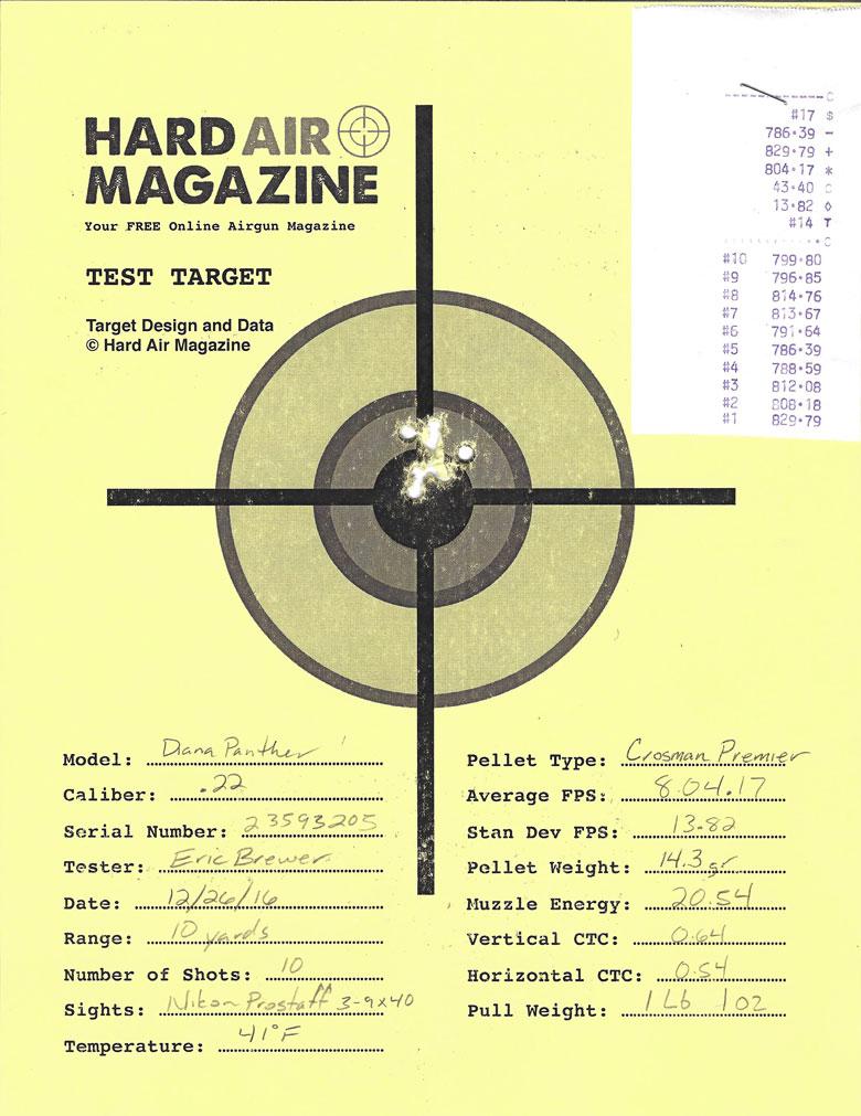 Diana Panther 350 N-Tec Air Rifle Test Review .22 Cal. Crosman premier pellets
