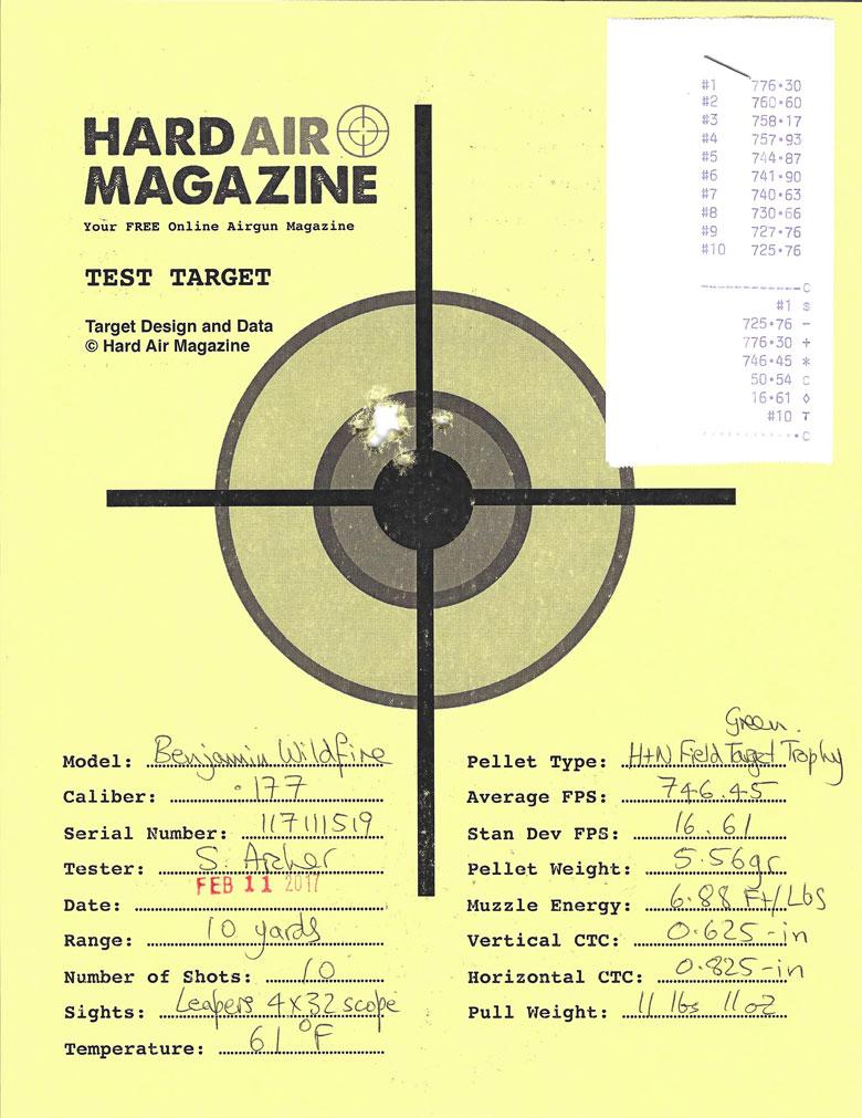 Benjamin Wildfire Air Rifle Test Review H&N FTT Green pellets