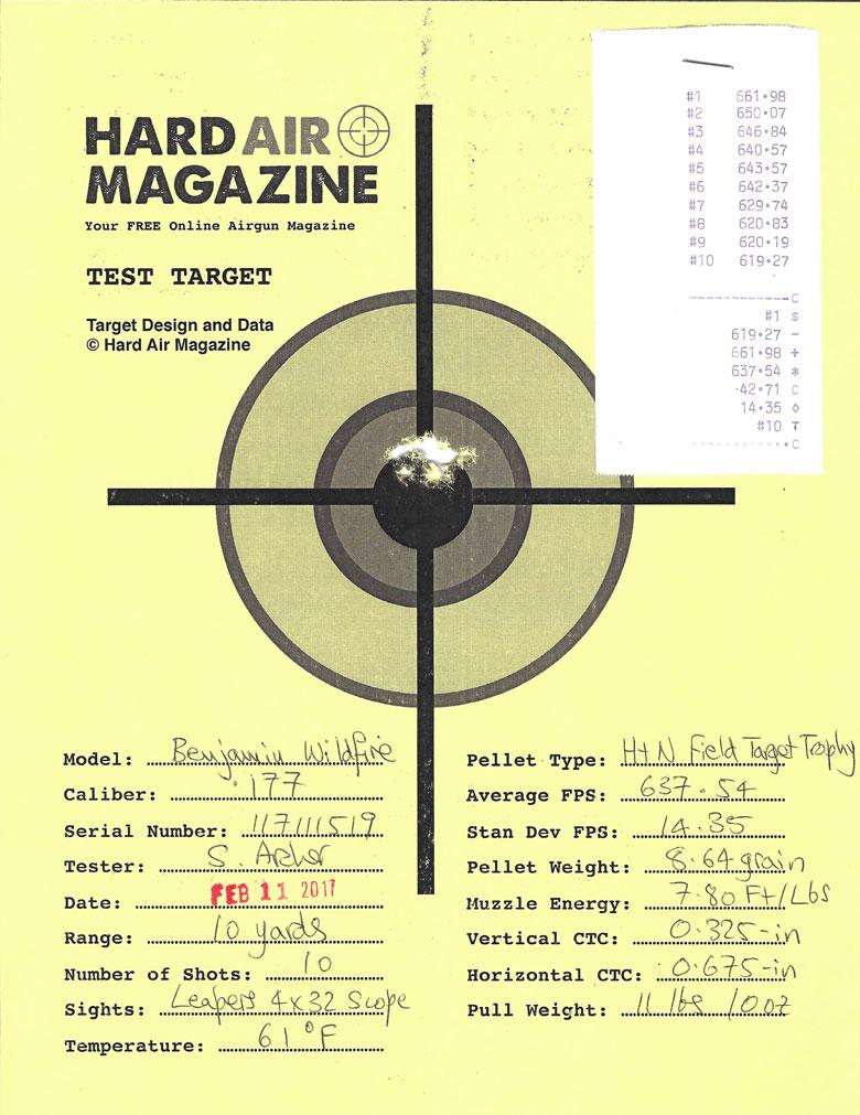Benjamin Wildfire Air Rifle Test Review H&N Field Target Trophy pellets