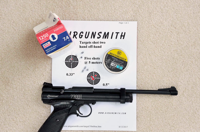 The Crosman 2300T bolt action, single shot, CO2 powered pistol