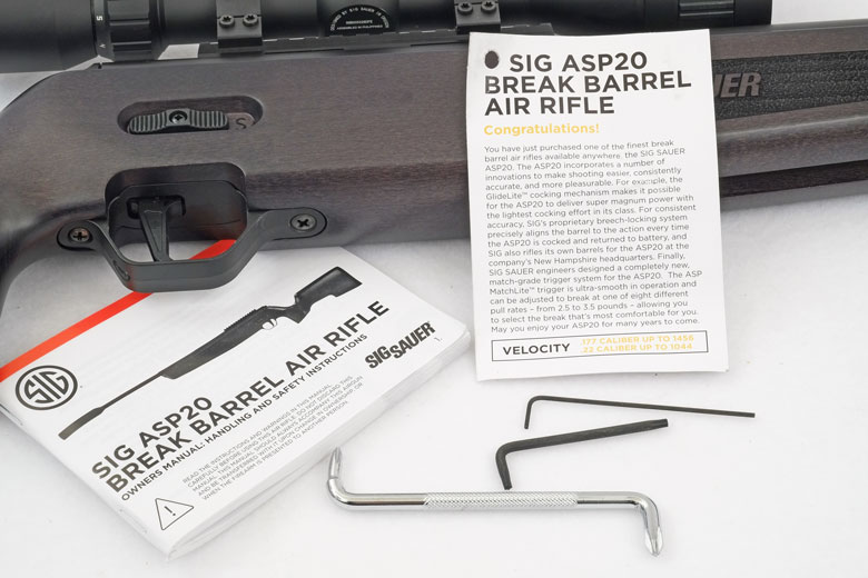 Also included with the SIGAIR ASP20 is a hangtag with essential safety information and a comprehensive owner's manual. In addition, there's a screwdriver and Allen wrench for trigger adjustment. Because this gun was bundled with the SIG Whiskey3 ASP 4-12×44 scope, there's also a Torx wrench for the scope ring screws.